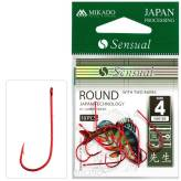 Haczyki Mikado Sensual - Round with barbs #4 RED